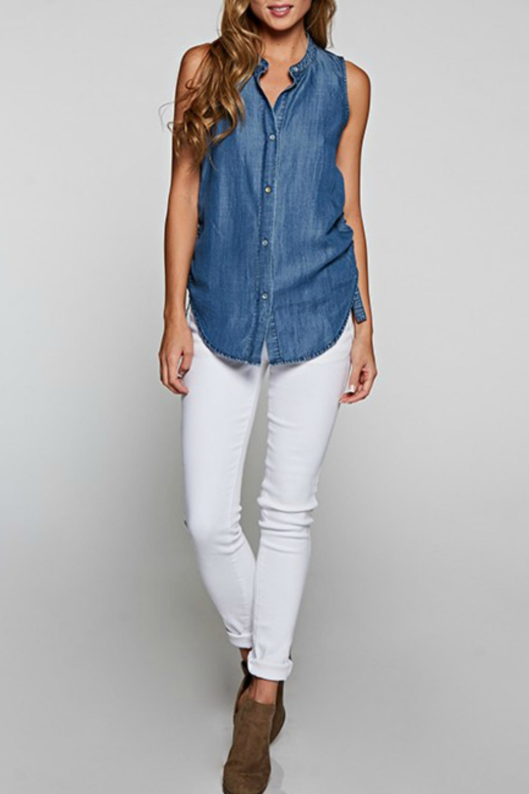Lovestitch Sleeveless Denim Blouse - Front Full Image