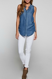 Lovestitch Sleeveless Denim Blouse - Front full body