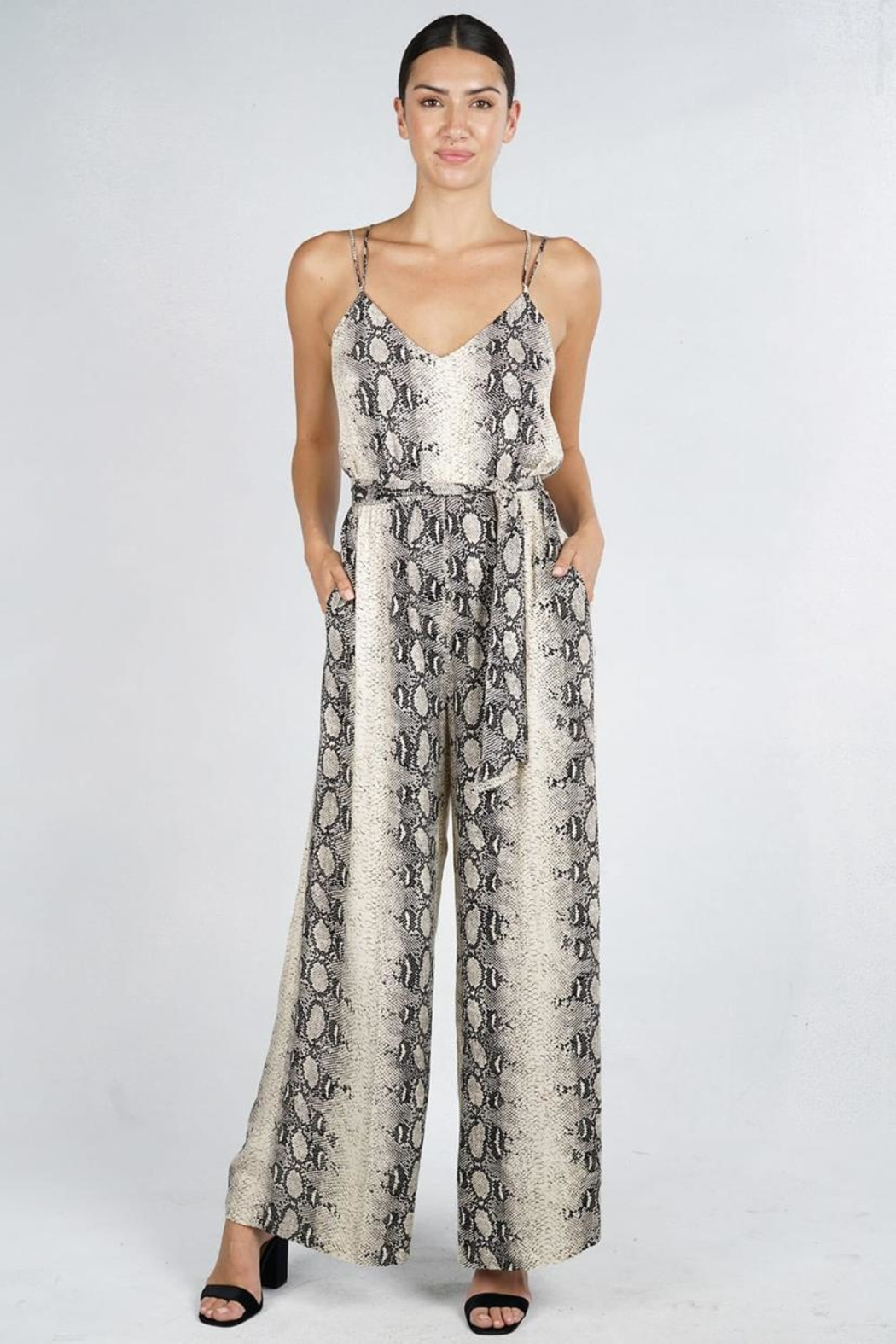 Lovestitch Snake Print Jumpsuit - Front Cropped Image
