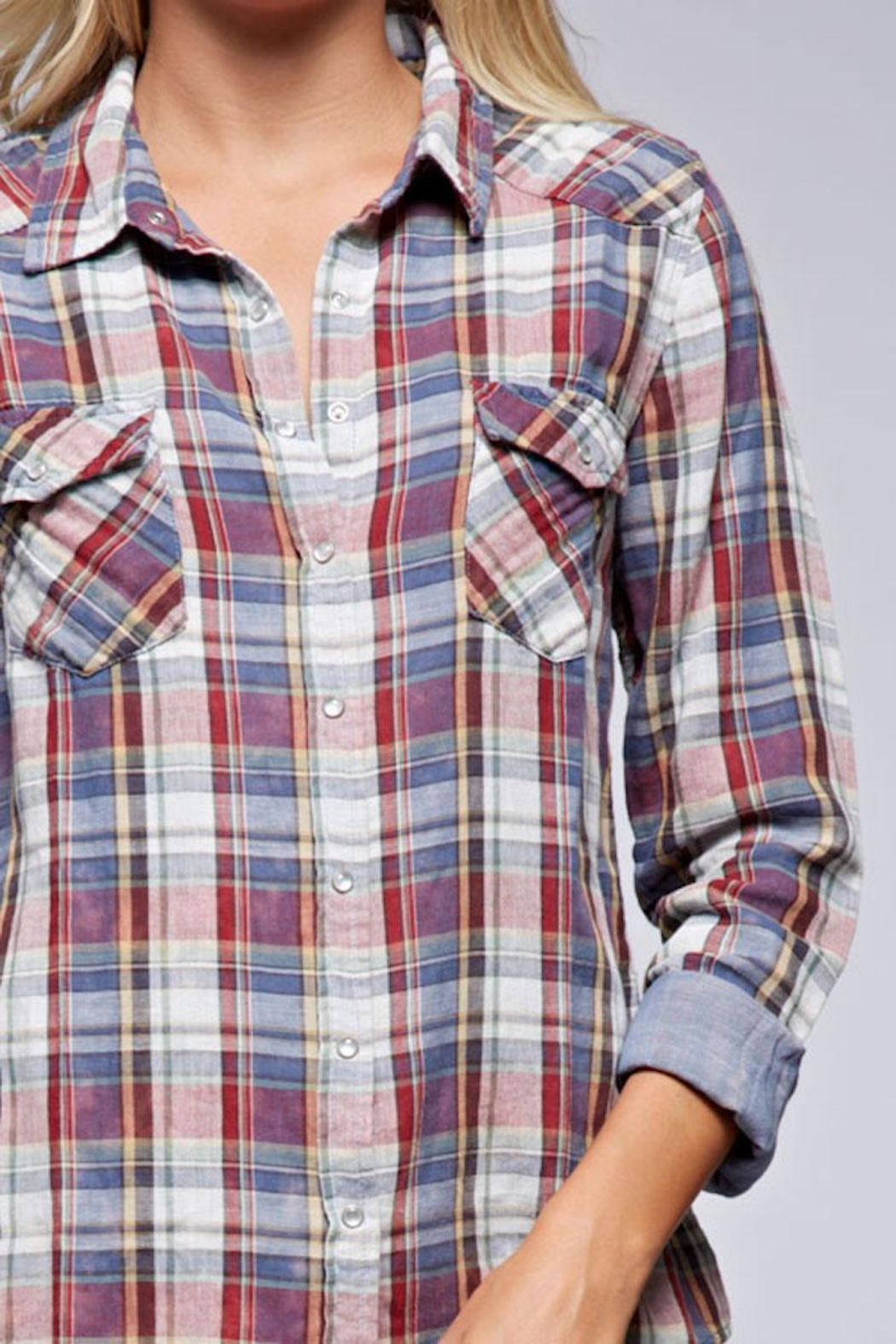 Lovestitch Snap Front Plaid - Side Cropped Image