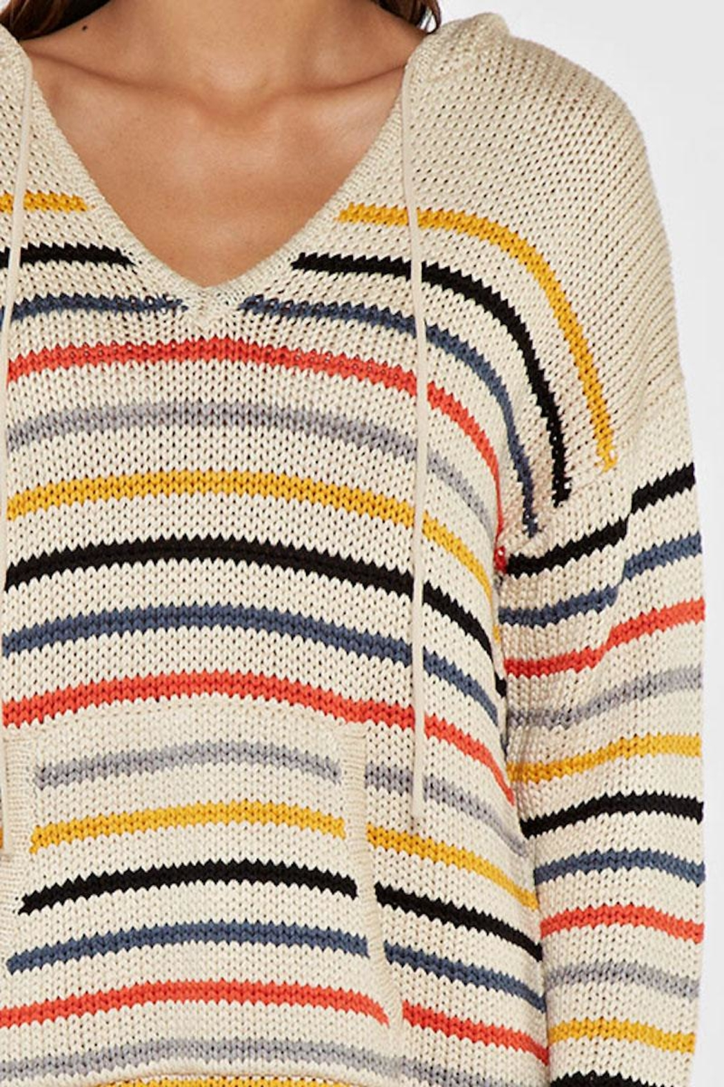 Lovestitch Striped Hooded Sweater - Side Cropped Image