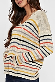 Lovestitch Striped Hooded Sweater - Back cropped