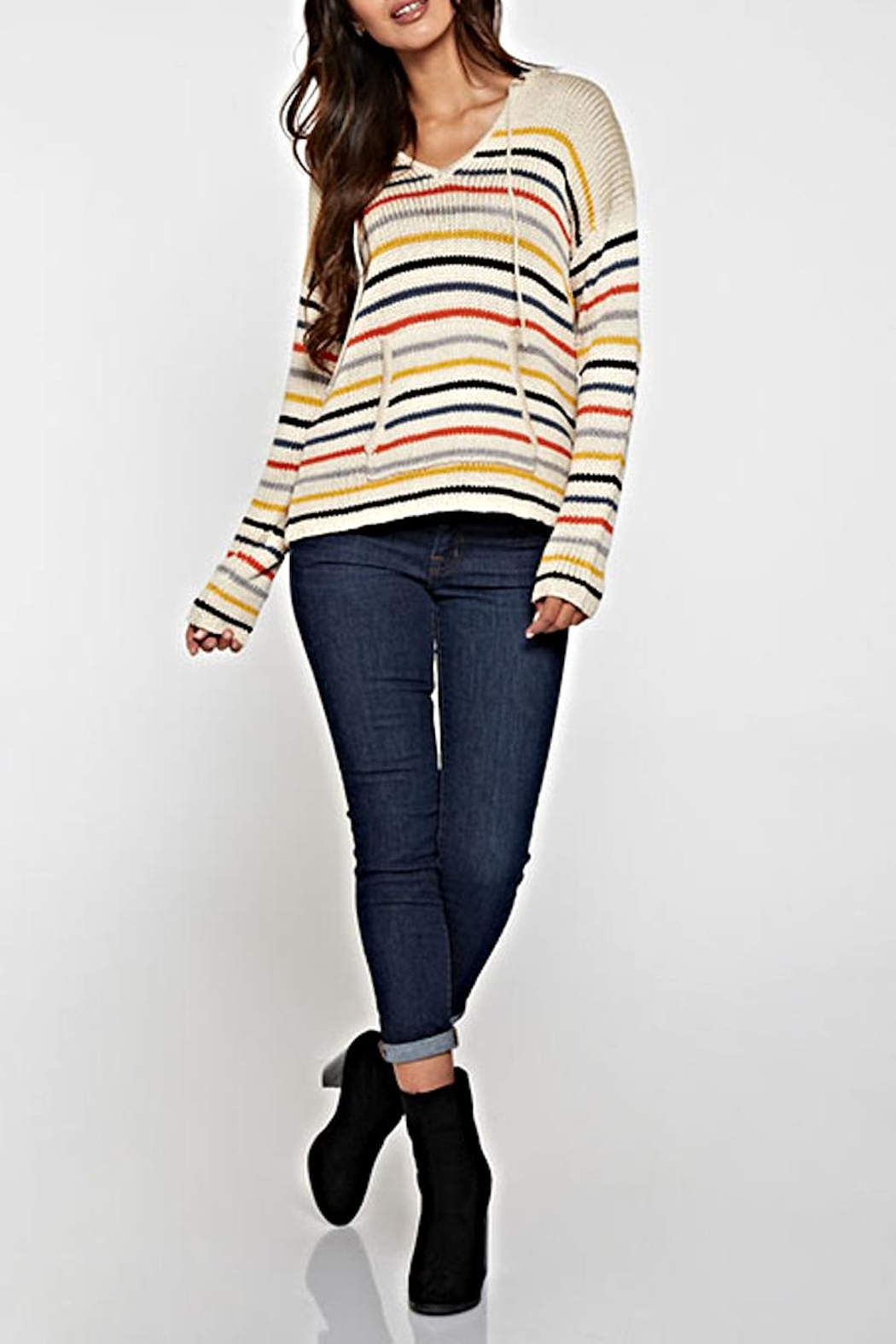 Lovestitch Striped Hooded Sweater - Main Image