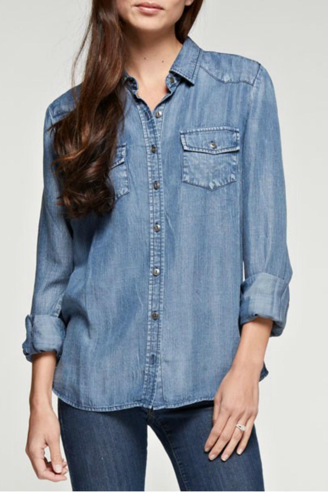 Lovestitch Tencel Button Down - Front Cropped Image