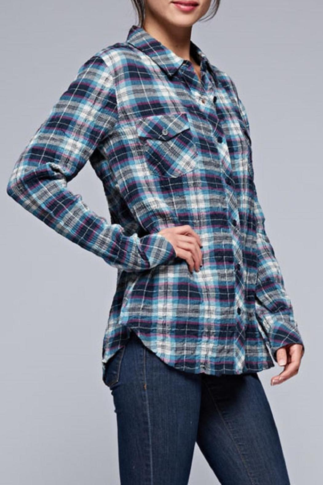 Lovestitch The Olivia Plaid Top - Back Cropped Image