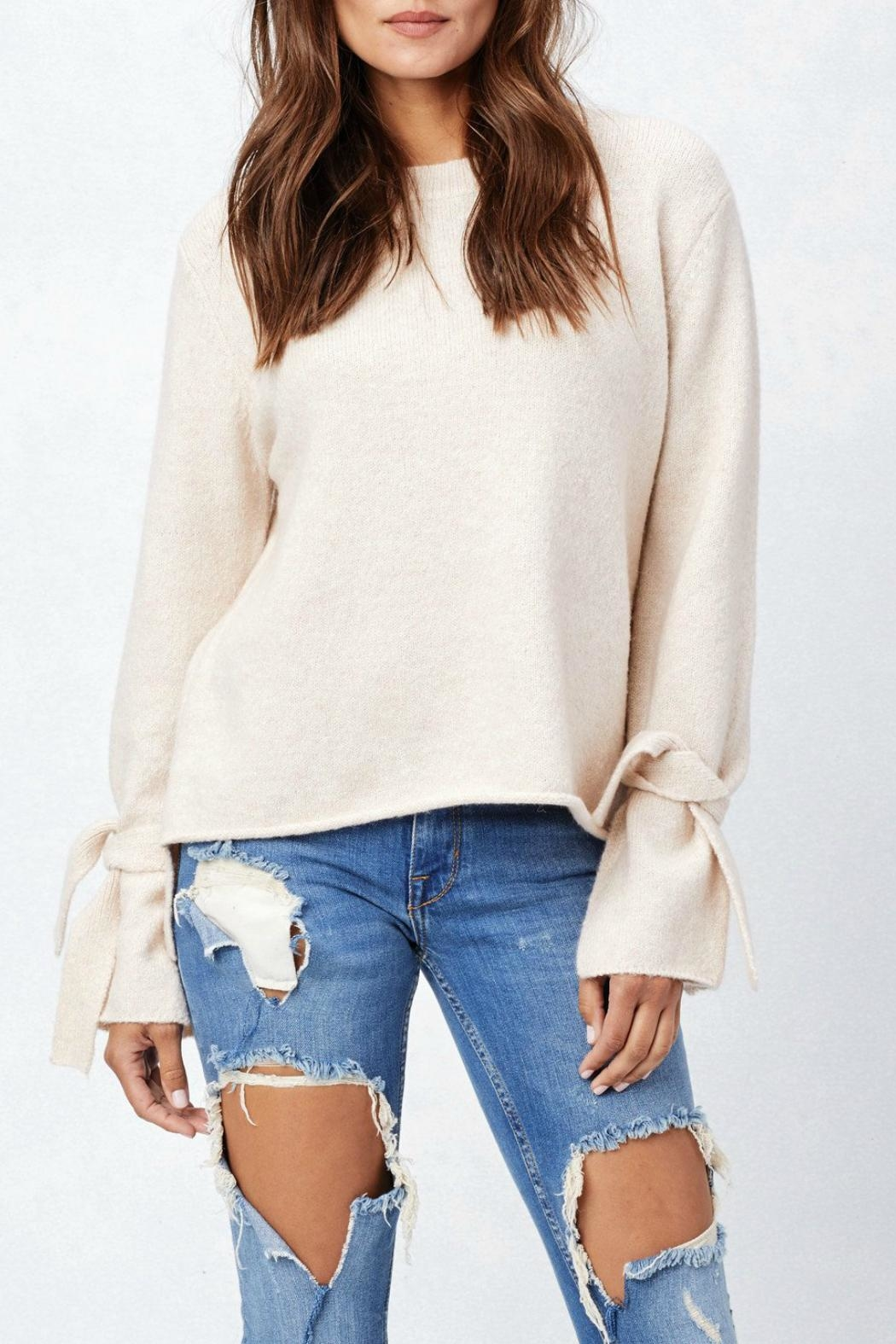 Lovestitch Tie Cuff Sweater - Front Cropped Image