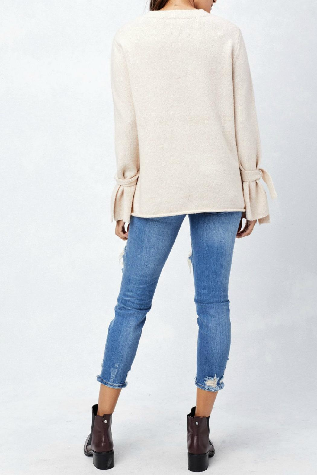 Lovestitch Tie Cuff Sweater - Back Cropped Image