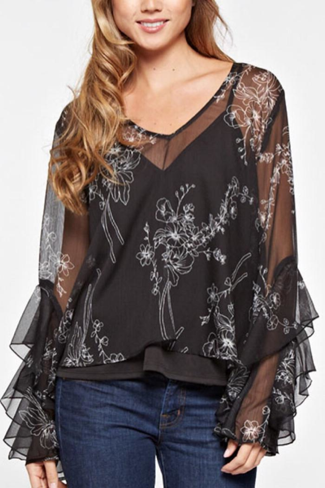 Lovestitch Sheer Print Top - Main Image