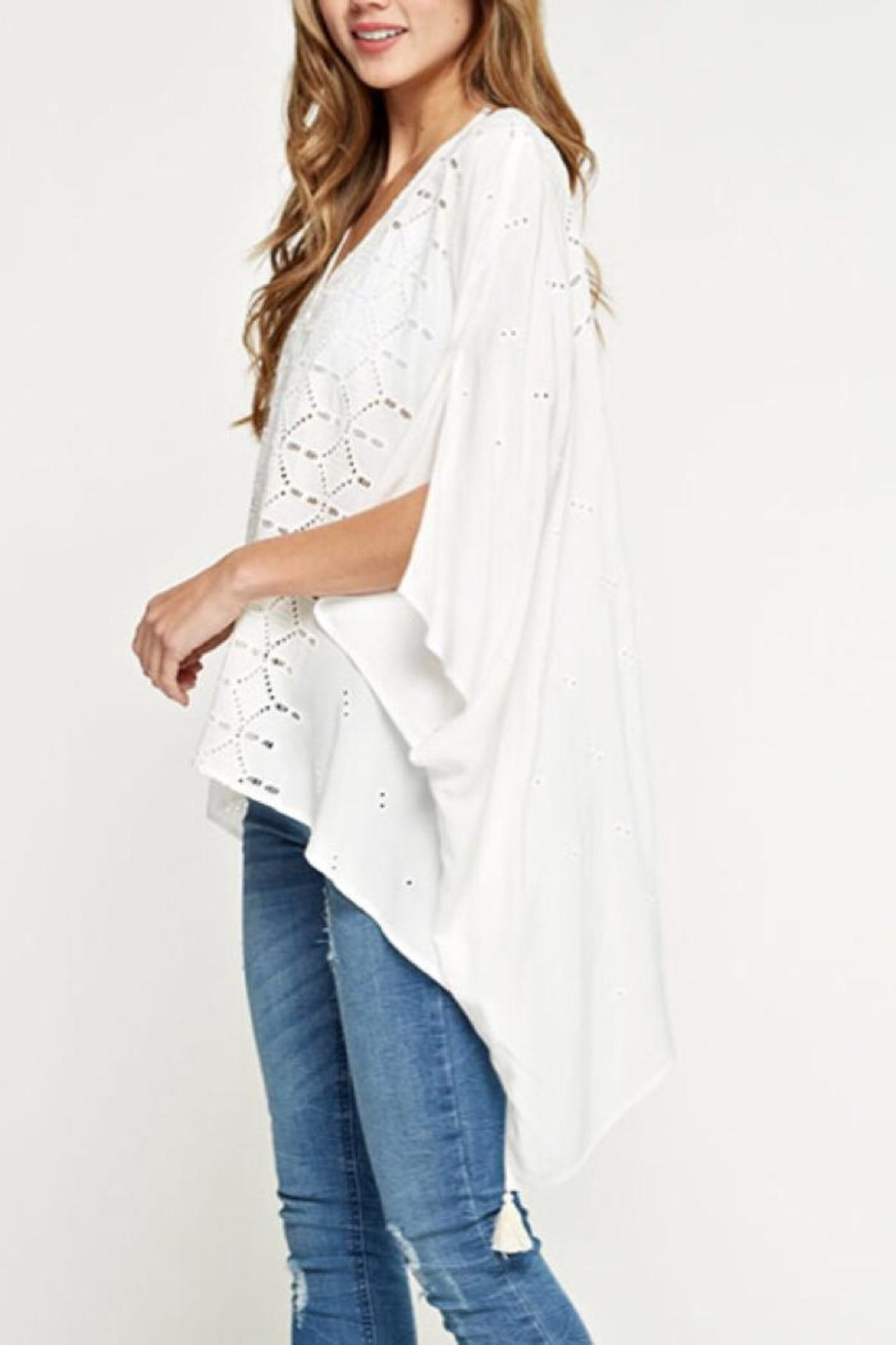 Lovestitch Embroidered Eyelet Top - Side Cropped Image