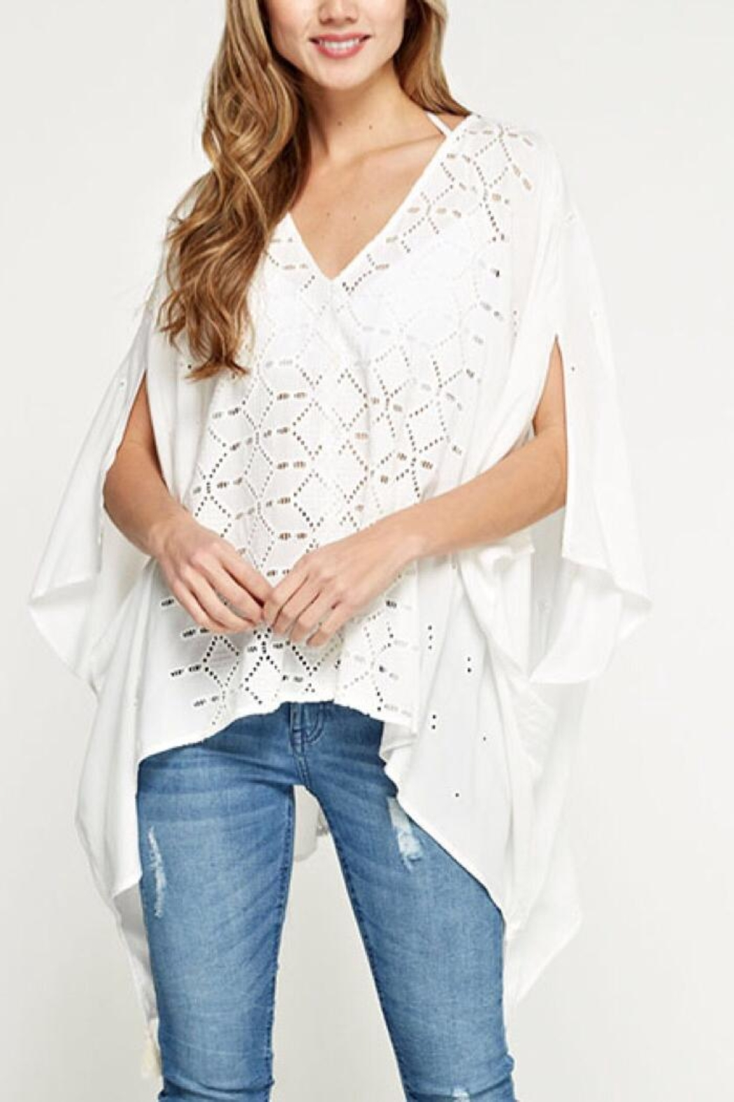 Lovestitch Embroidered Eyelet Top - Front Cropped Image
