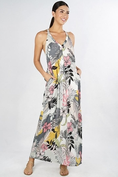 Lovestitch Tropical Floral Racer Back Maxi Dress - Product List Image
