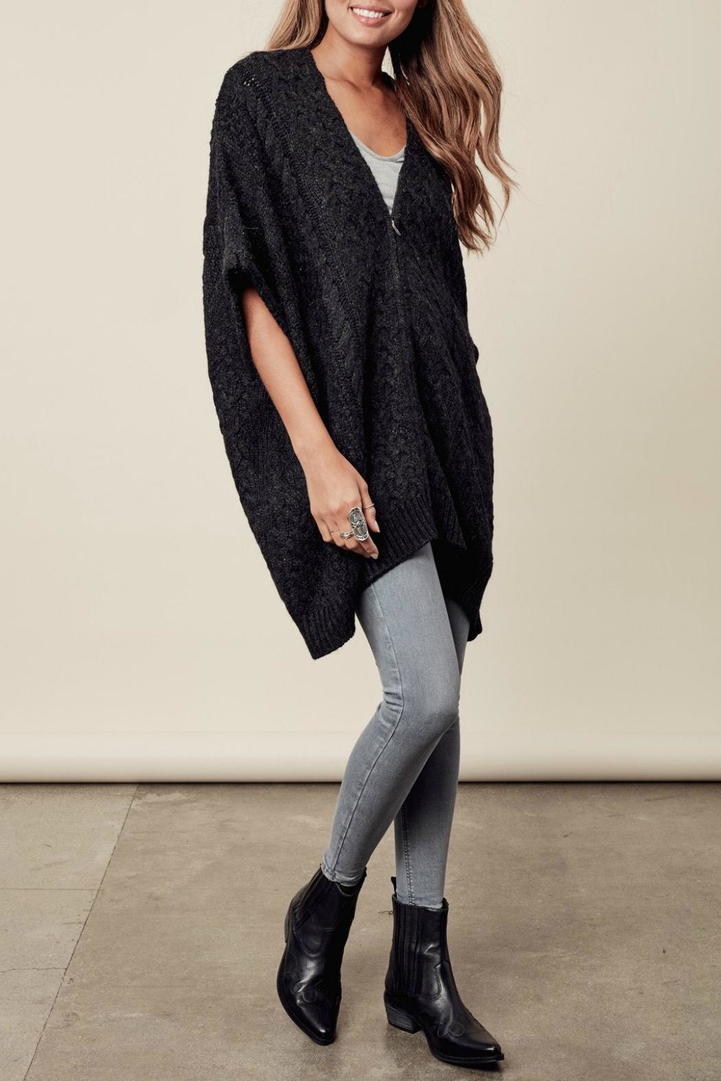 Lovestitch Zip-Up Poncho - Side Cropped Image