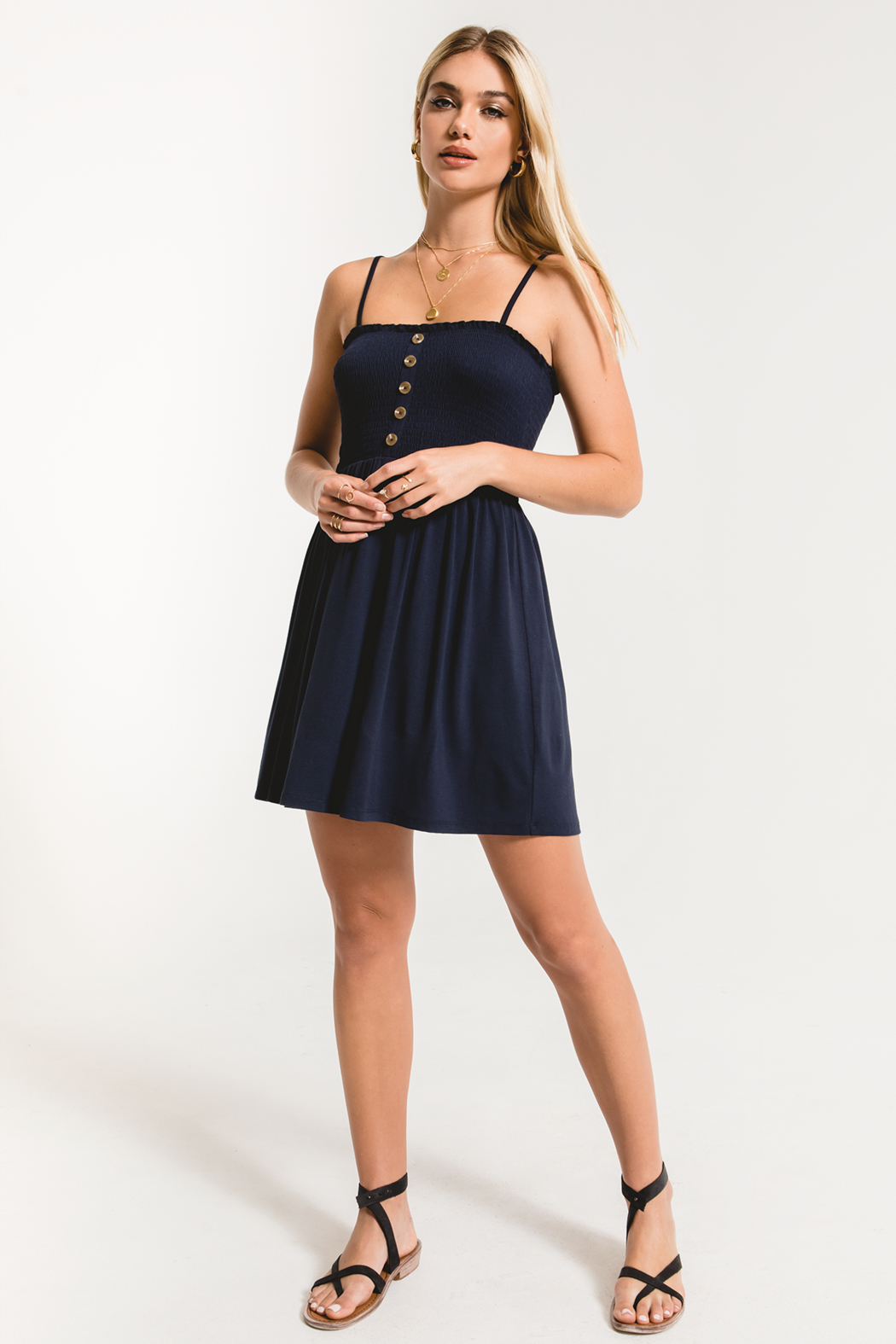 Others Follow  Lovestone Smocked & Button Dress - Back Cropped Image