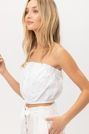 Lovetree Cotton Eyelet Bandeau Crop Top - Front full body