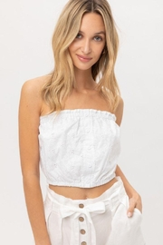 Lovetree Cotton Eyelet Bandeau Crop Top - Front cropped