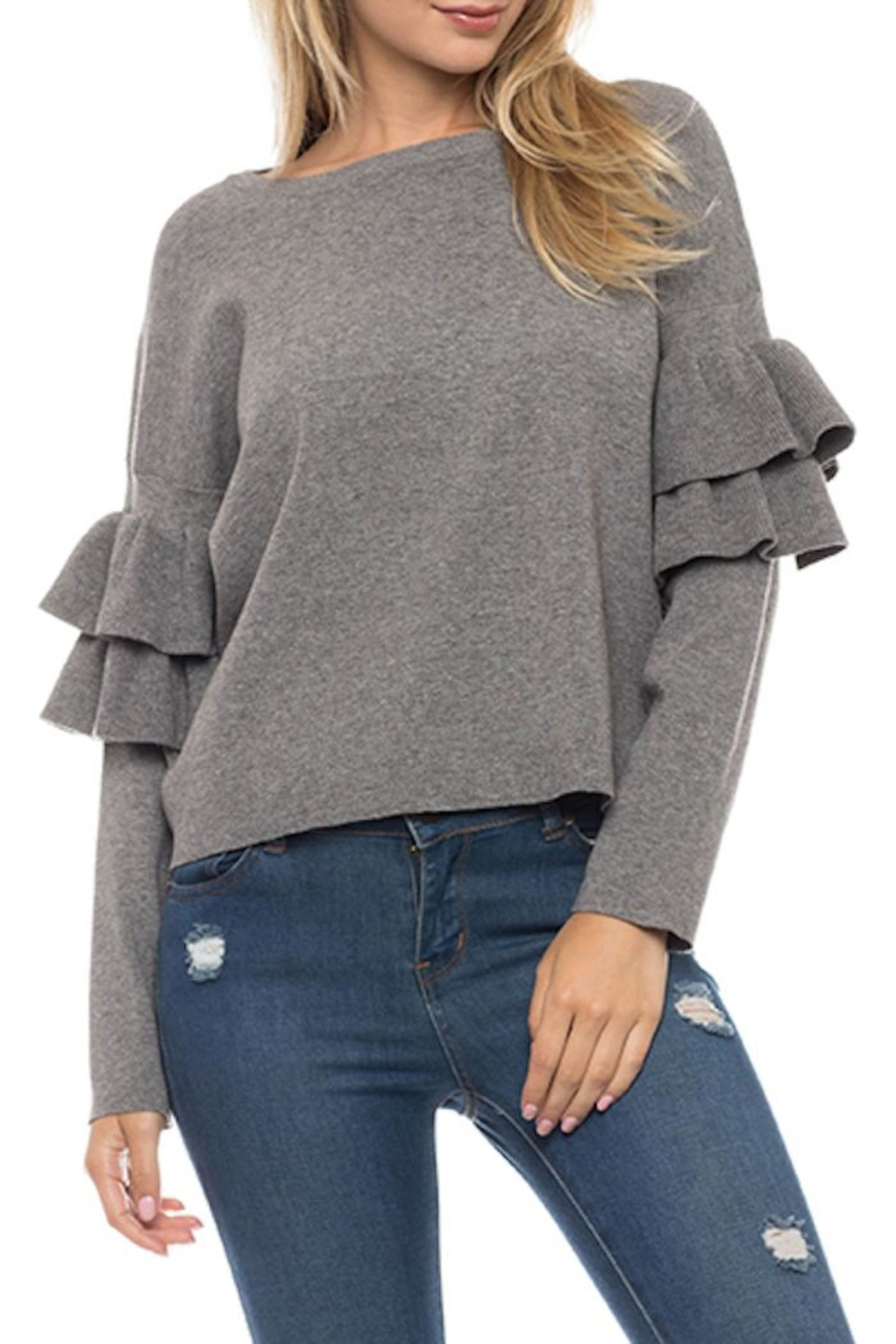 Lovetree Double Ruffle Sweater - Front Cropped Image