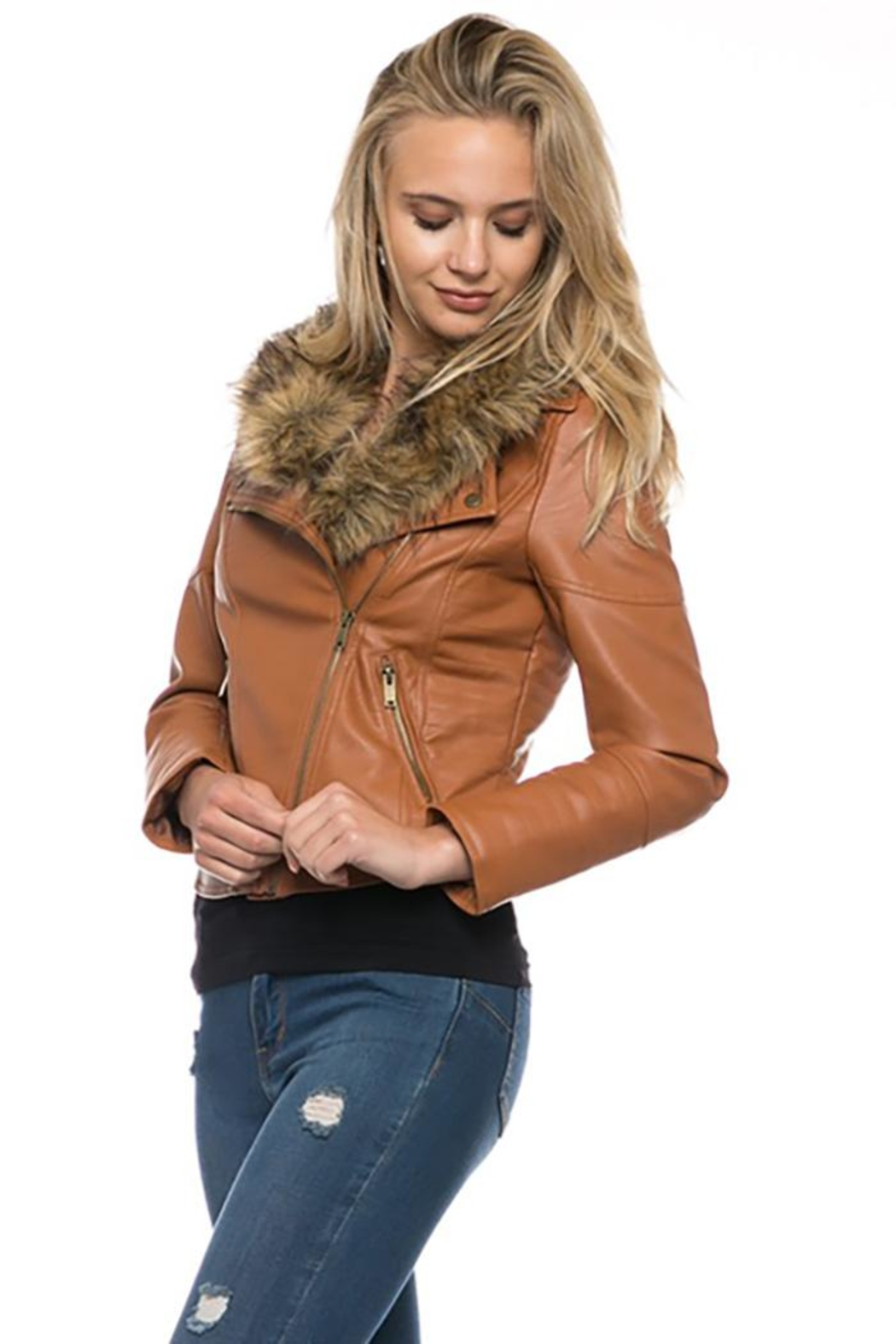 Lovetree Faux Leather Fur-Jacket - Front Cropped Image