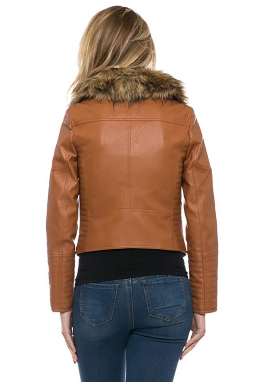 Lovetree Faux Leather Fur-Jacket - Front Full Image