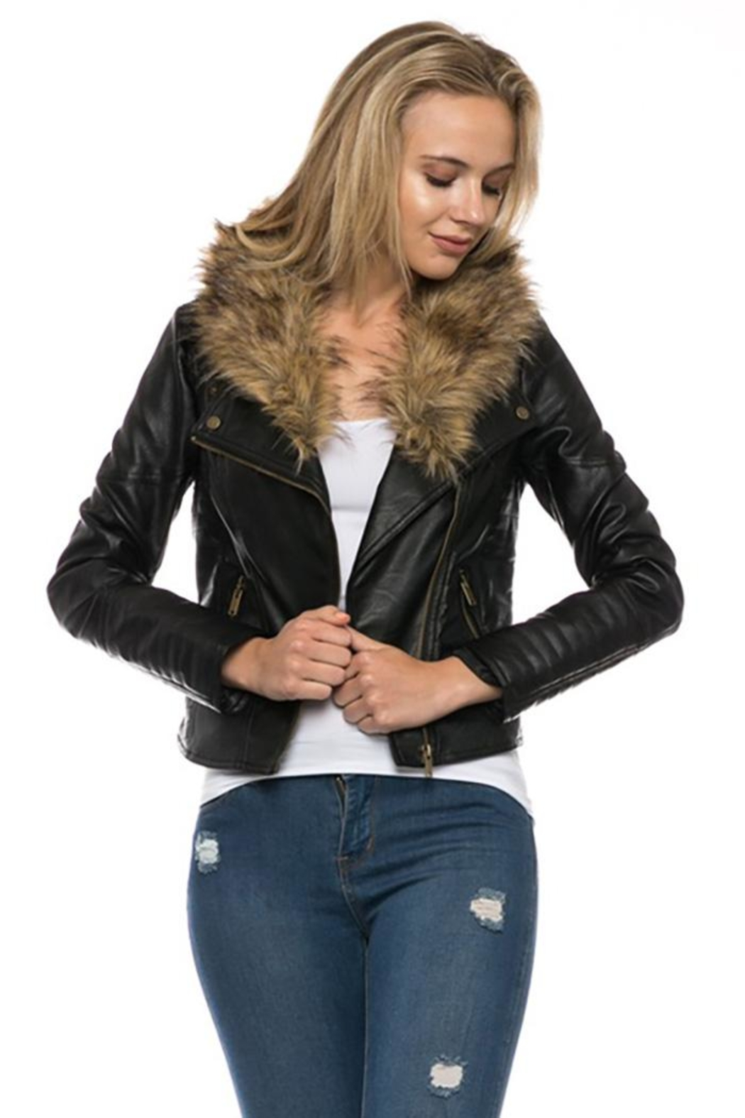 Lovetree Faux Leather Fur-Jacket - Main Image