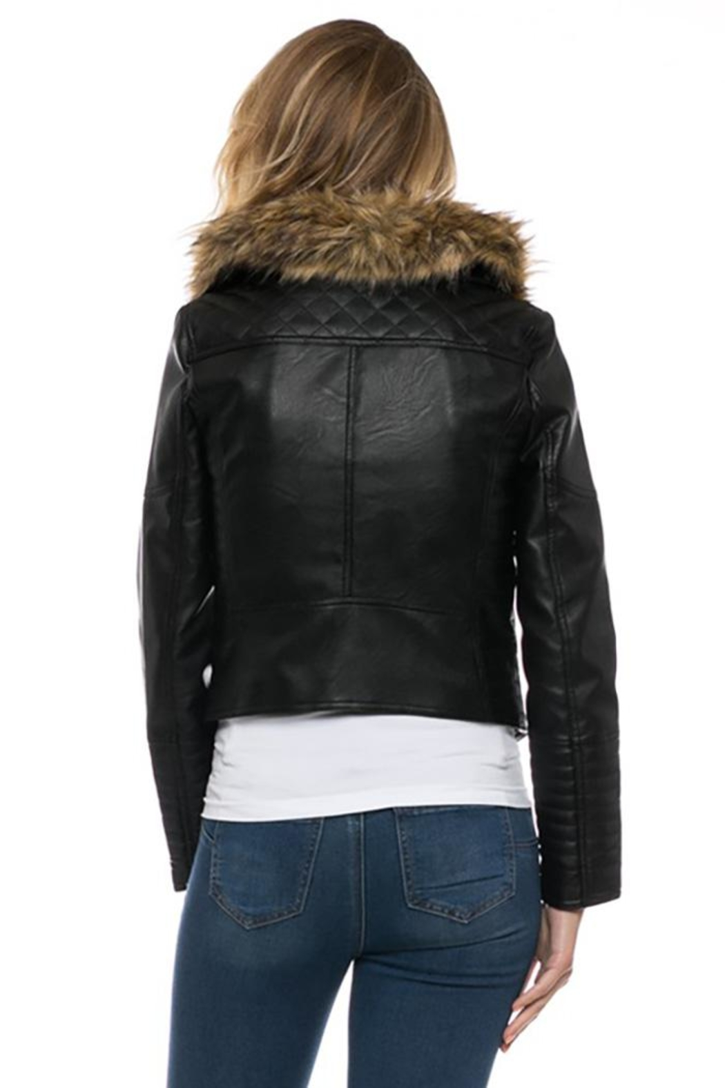 Lovetree Faux Leather Fur-Jacket - Side Cropped Image