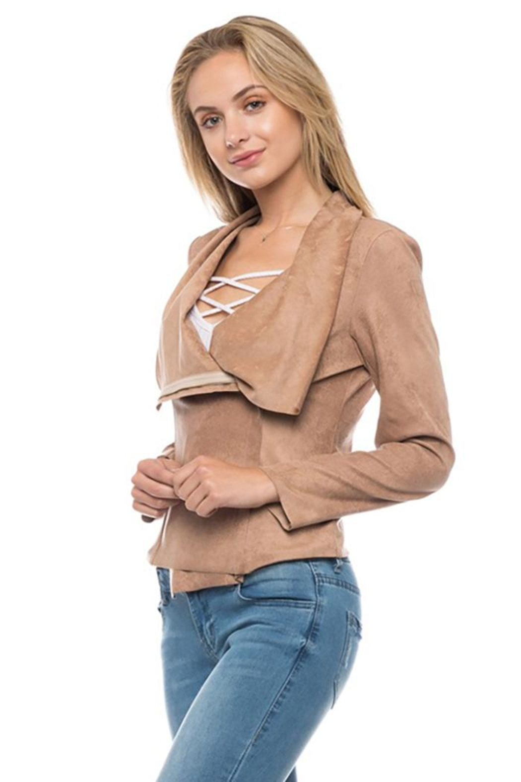 Lovetree Front Drape Jacket - Back Cropped Image