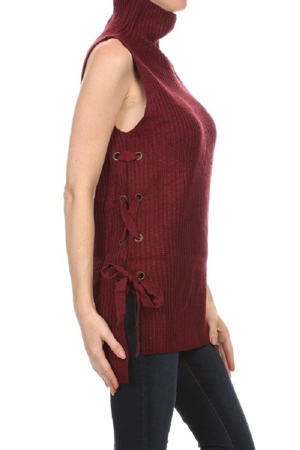 Lovetree Lace-Up Sleeveless Sweater - Front Full Image