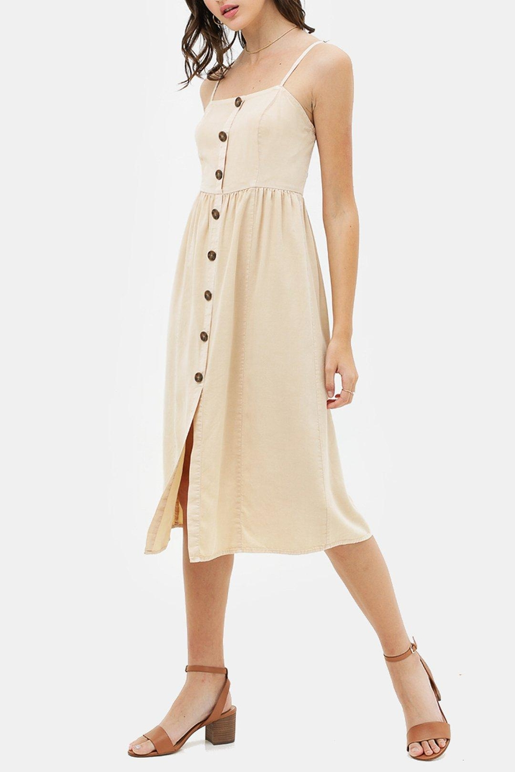 Lovetree Linen Button-Up Dress - Front Full Image