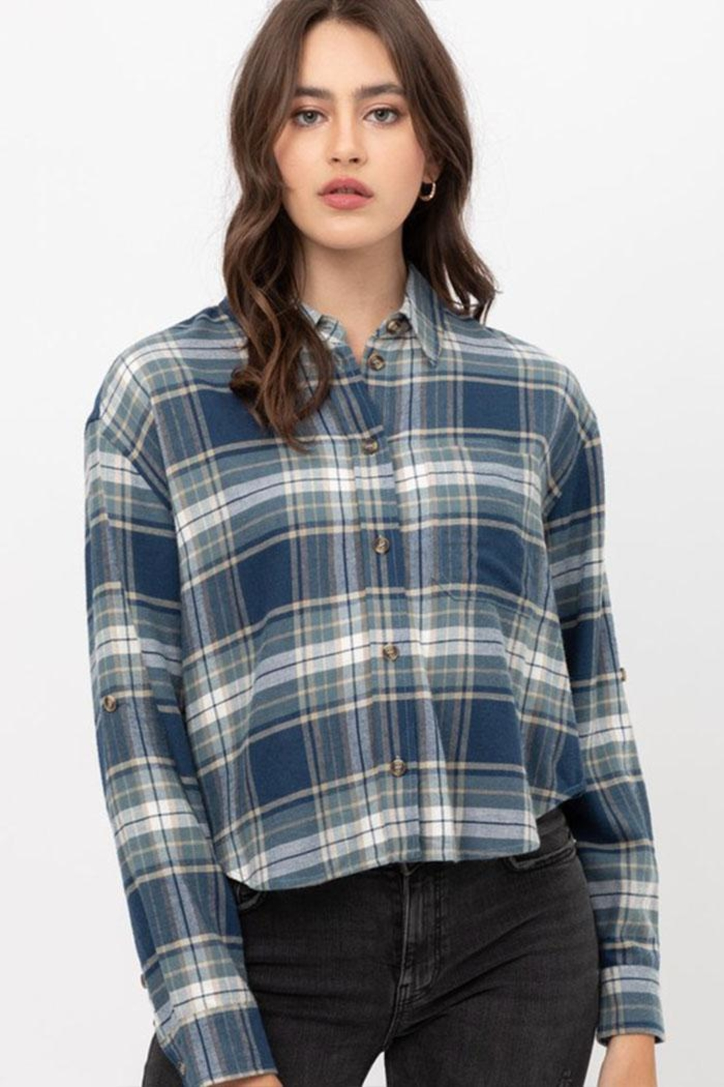 Lovetree Long-Sleeve Plaid Shirt - Front Cropped Image
