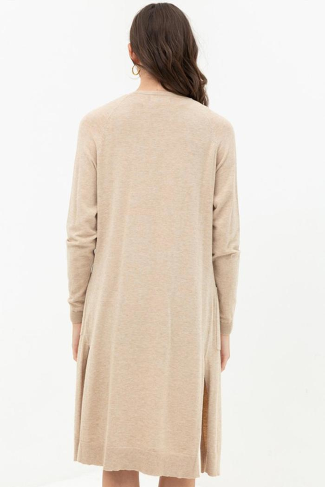 Lovetree Longline Duster Cardigan - Back Cropped Image