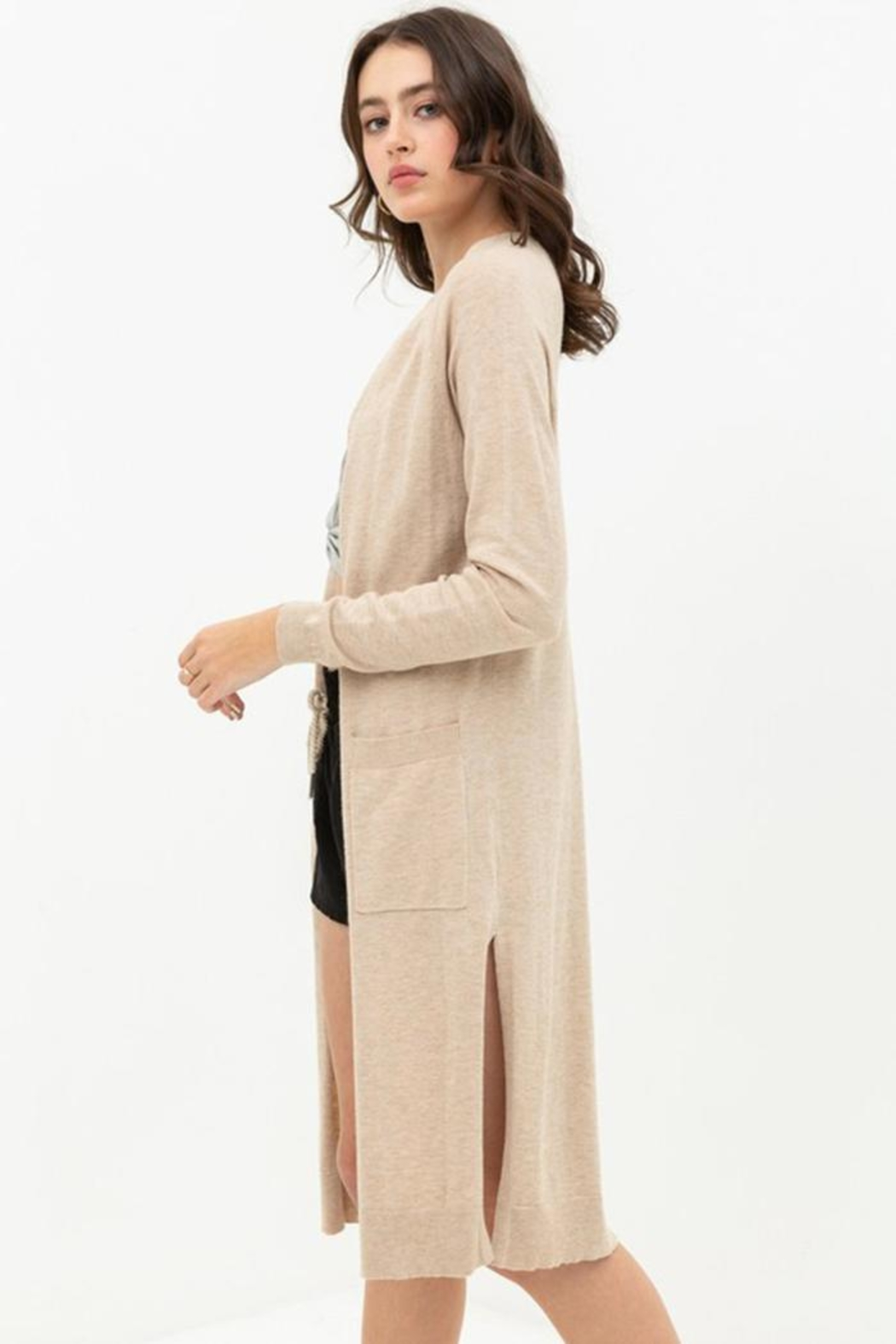 Lovetree Longline Duster Cardigan - Side Cropped Image
