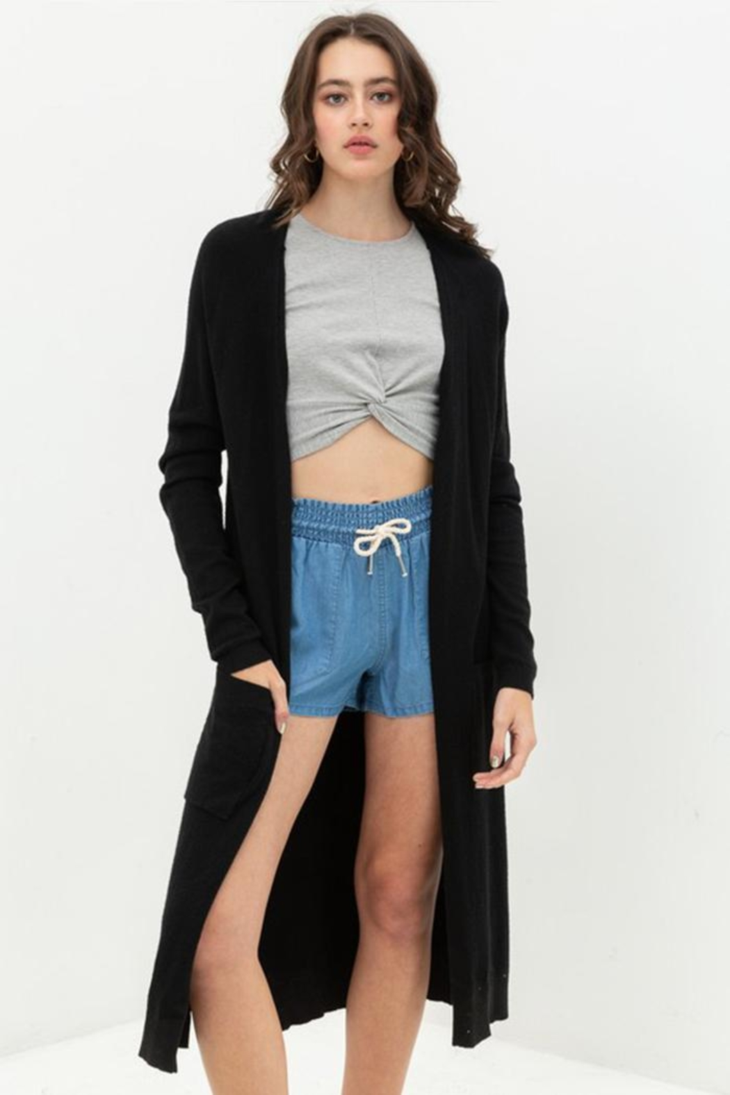 Lovetree Longline Duster Cardigan - Front Cropped Image