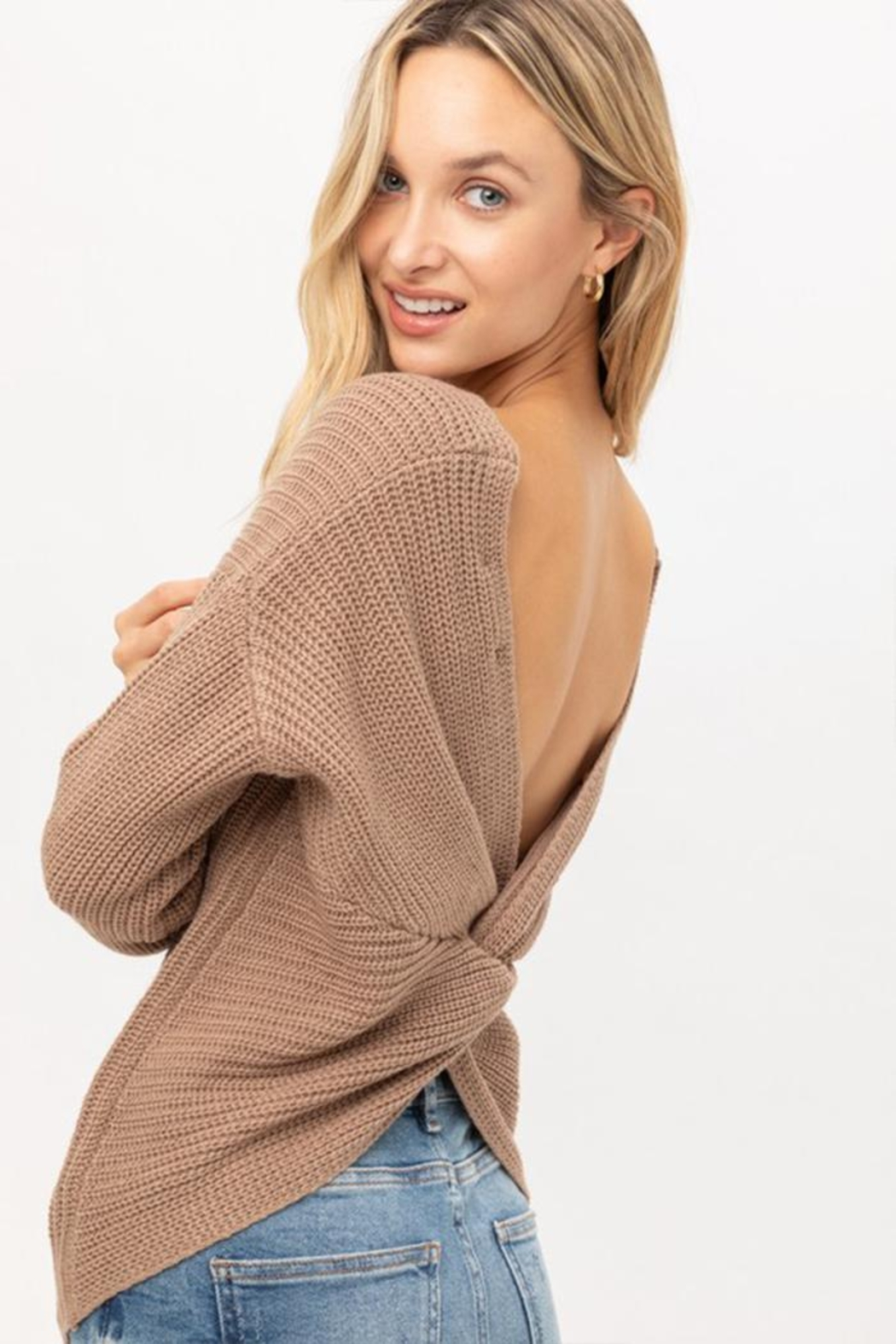 Lovetree Oversized Twist-Back Sweater - Front Cropped Image
