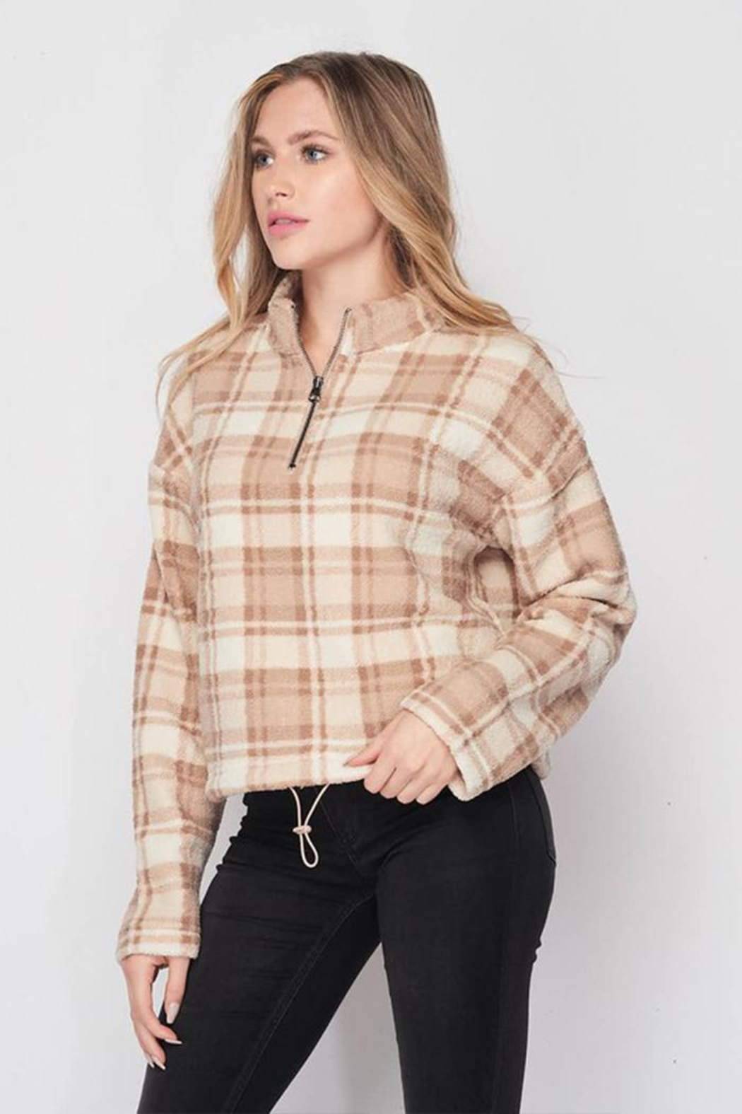 Lovetree Plaid Sherpa Pullover - Front Full Image