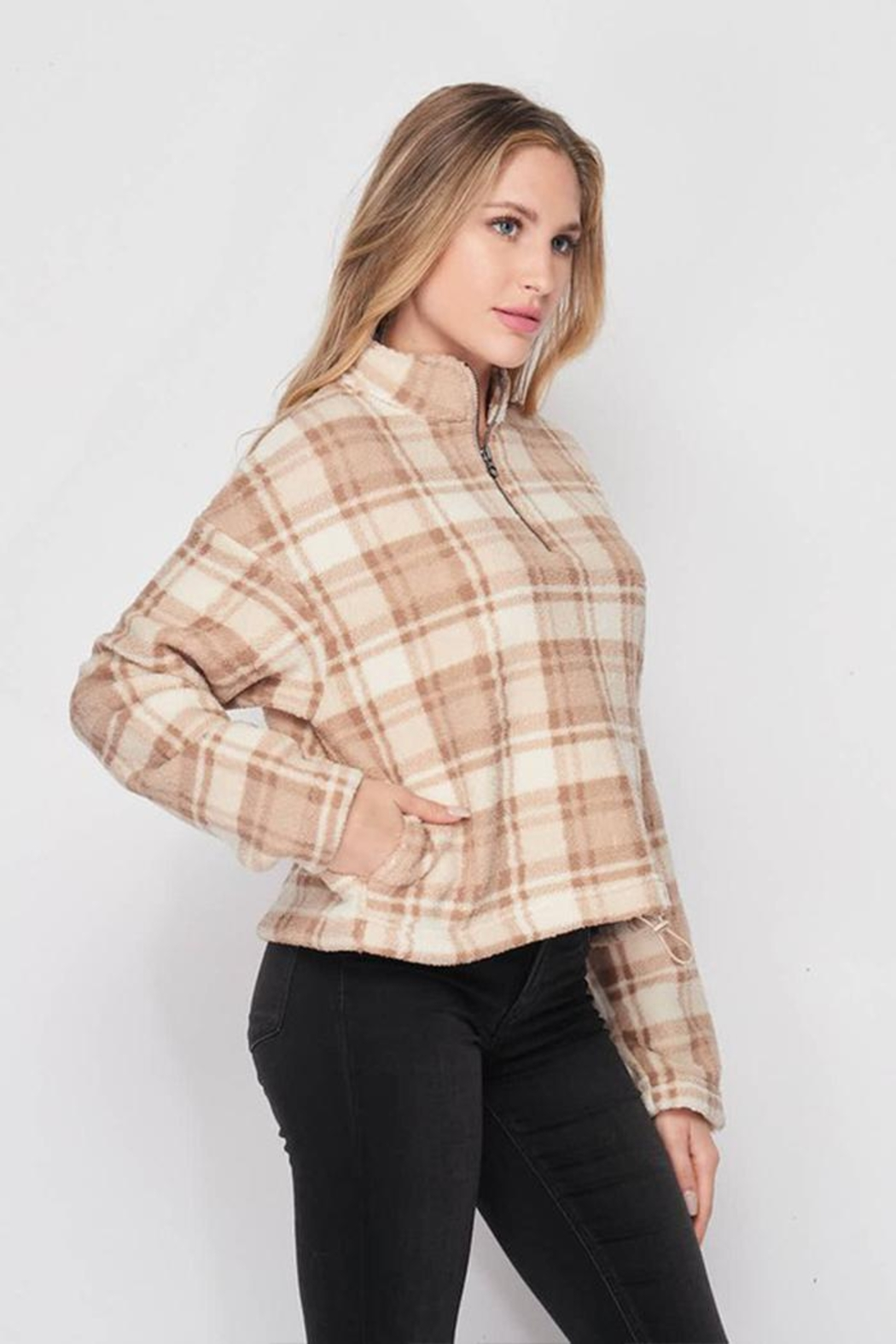 Lovetree Plaid Sherpa Pullover - Back Cropped Image