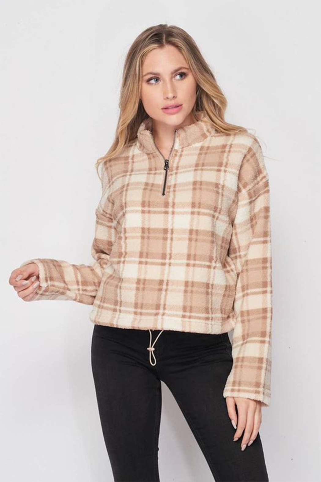 Lovetree Plaid Sherpa Pullover - Main Image