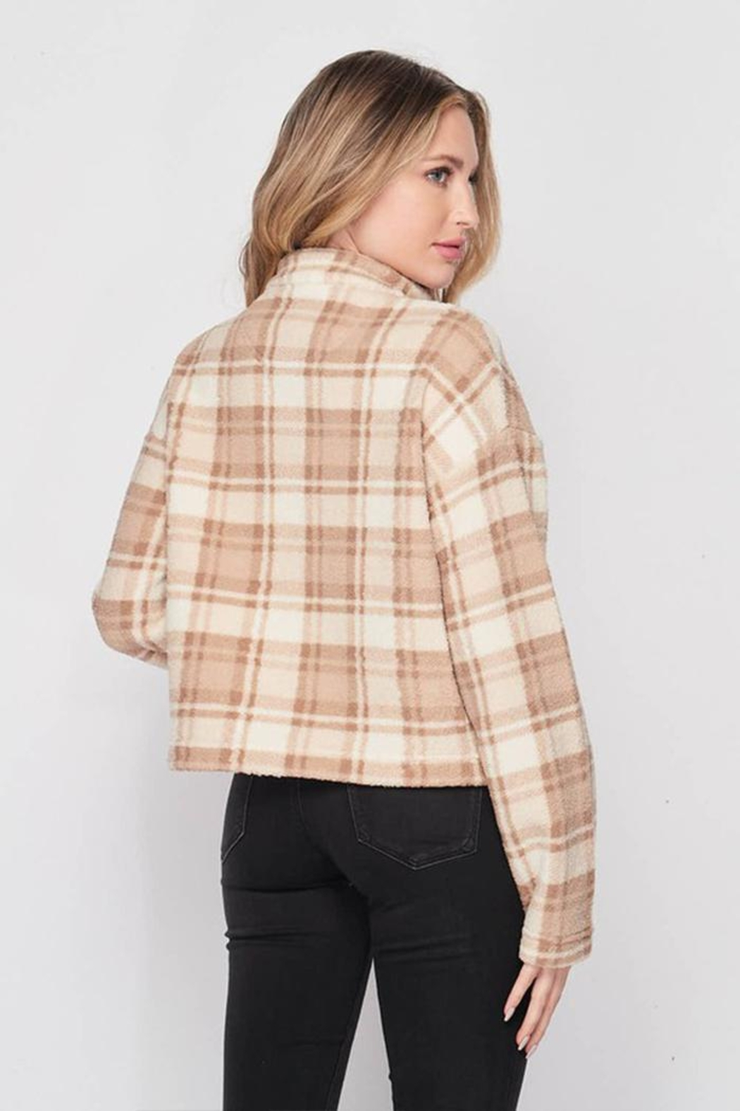 Lovetree Plaid Sherpa Pullover - Side Cropped Image