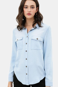 Lovetree Scooped Hem Button Up Shirt - Product List Image