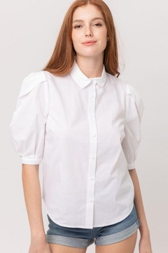 Lovetree Short Puff Sleeve Button Up Shirt - Product List Image