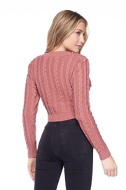 Lovetree Solid Cable Knit Crop Top - Front full body