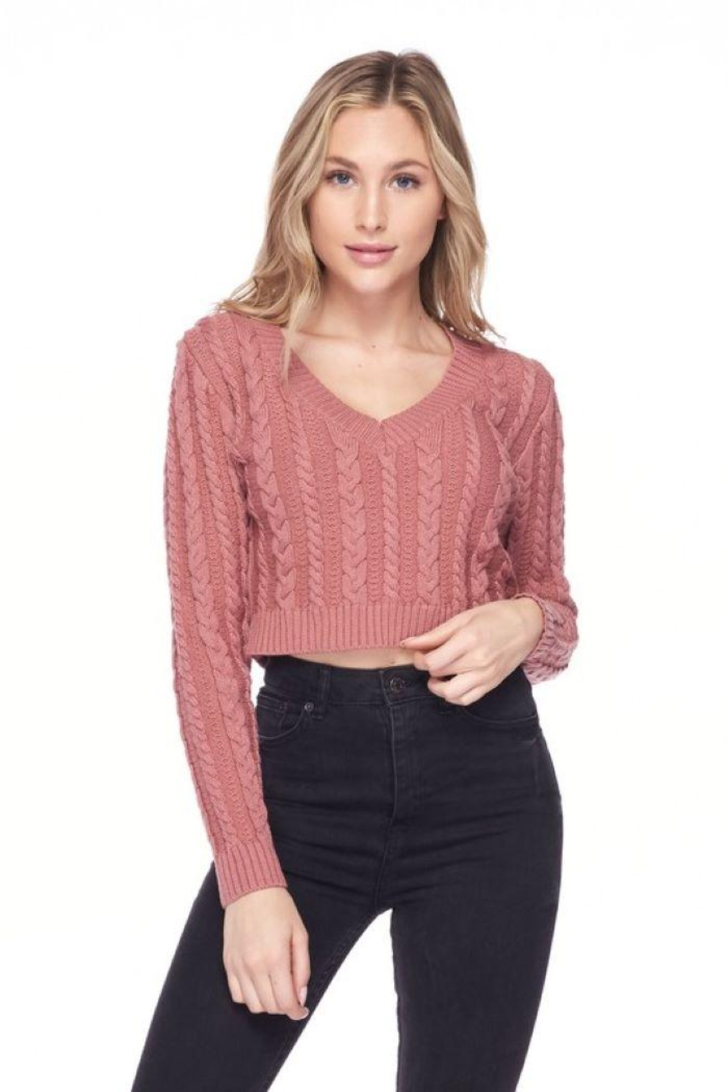 Lovetree Solid Cable Knit Crop Top - Side Cropped Image