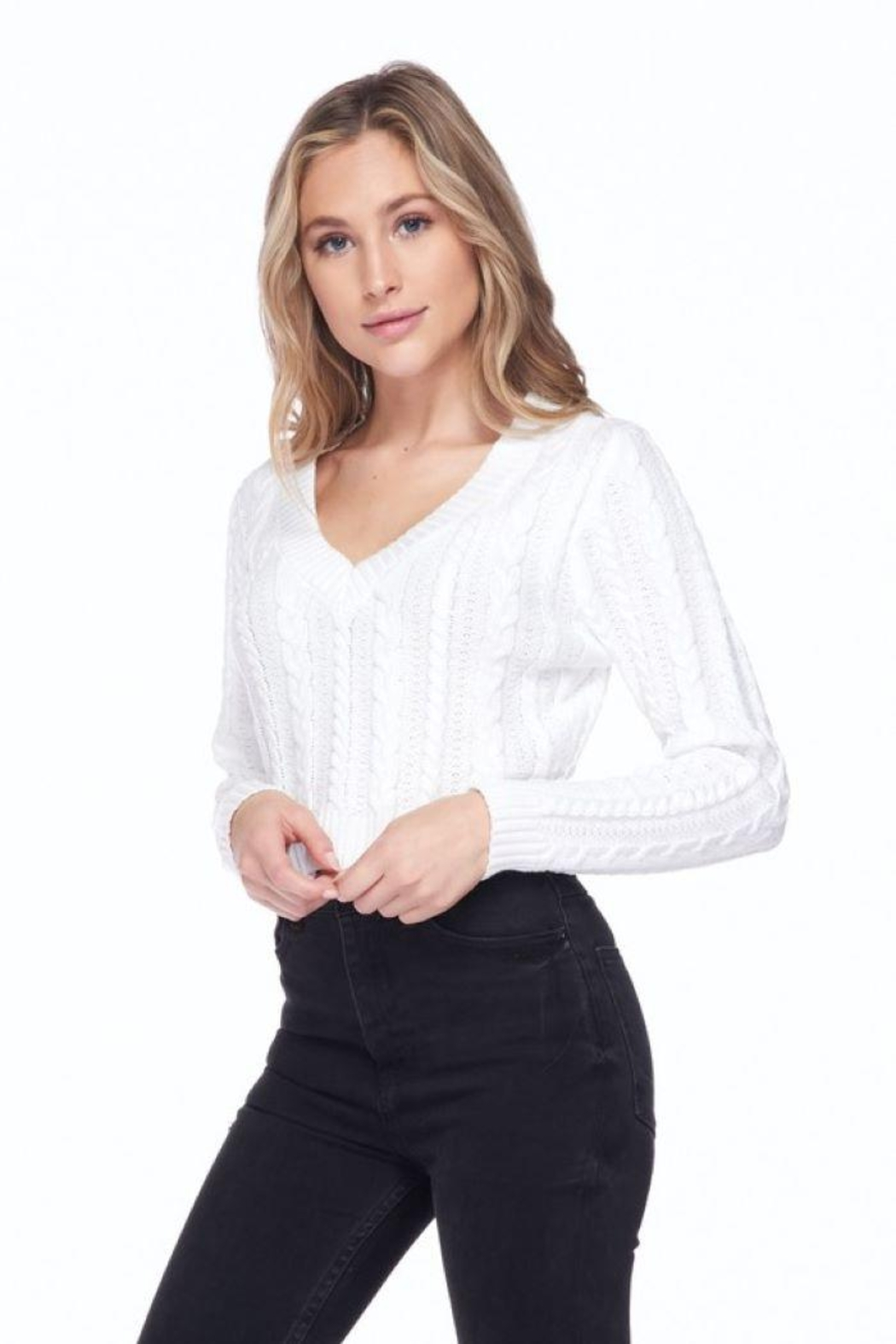 Lovetree Solid Cable Knit Crop Top - Front Cropped Image