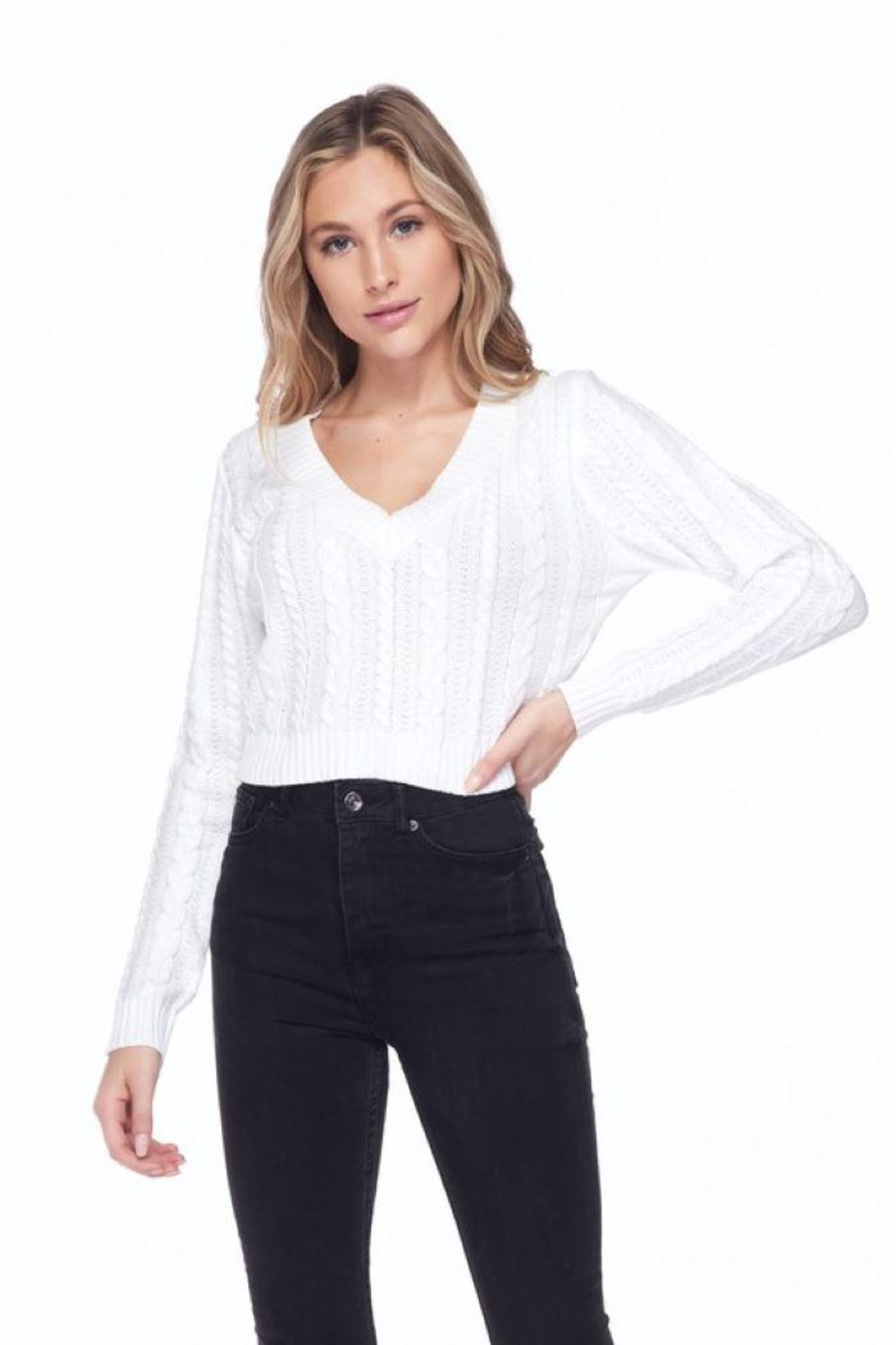Lovetree Solid Cable Knit Crop Top - Front Full Image