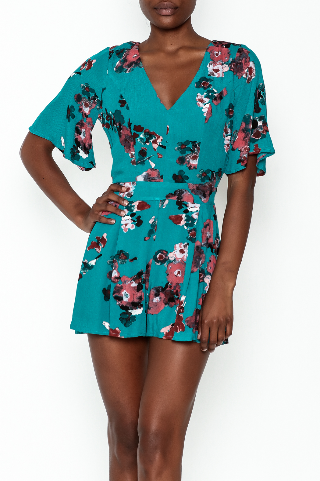 Lovposh Teal Romper - Front Cropped Image