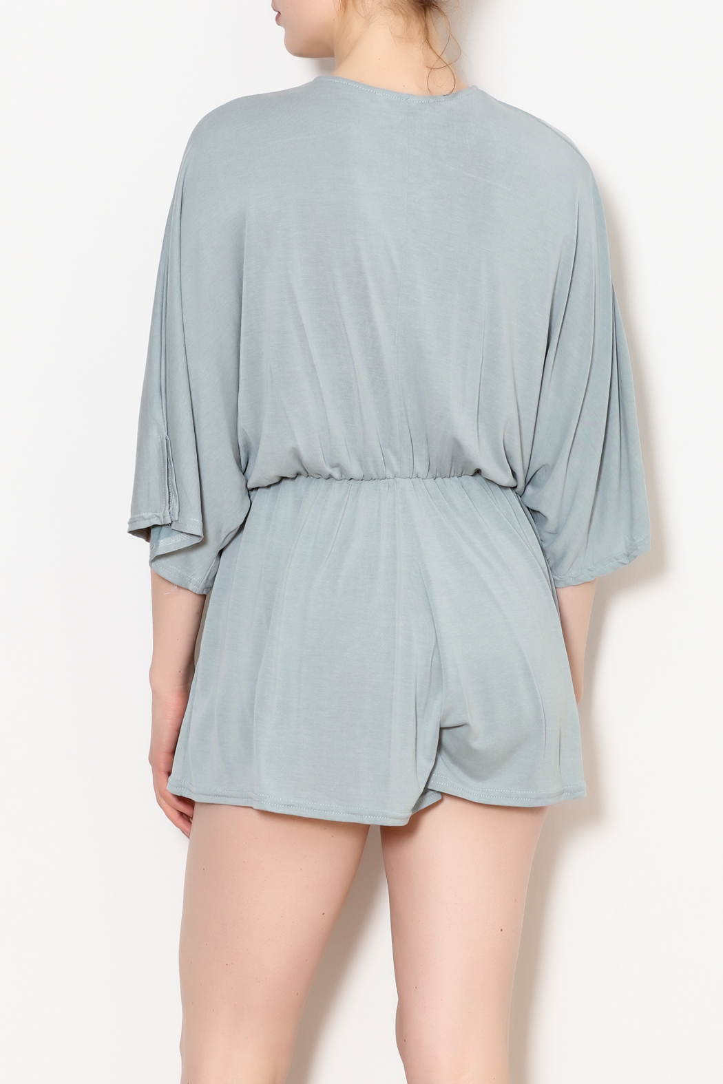 She + Sky Low V Neck Modal Romper - Back Cropped Image