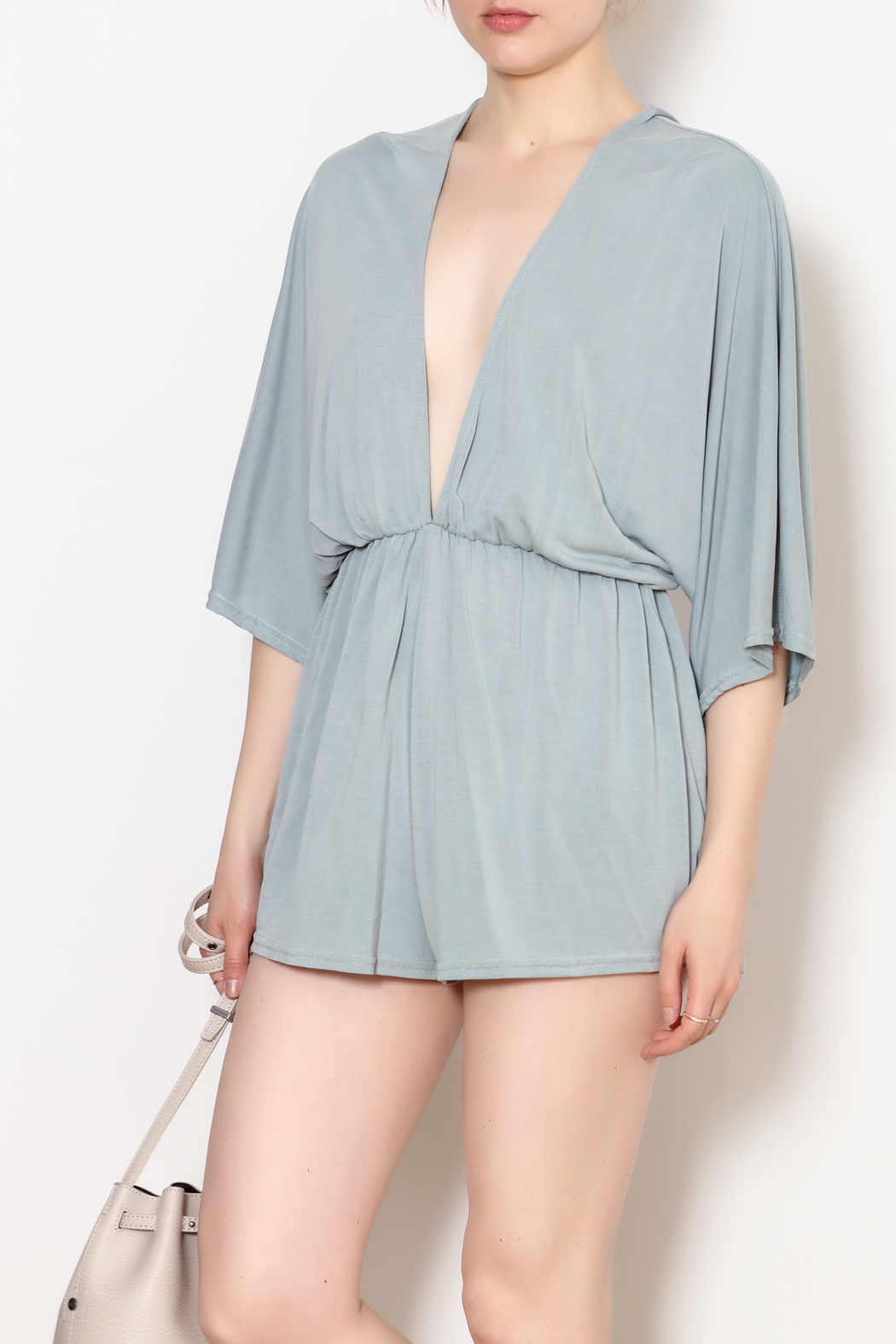 She + Sky Low V Neck Modal Romper - Side Cropped Image