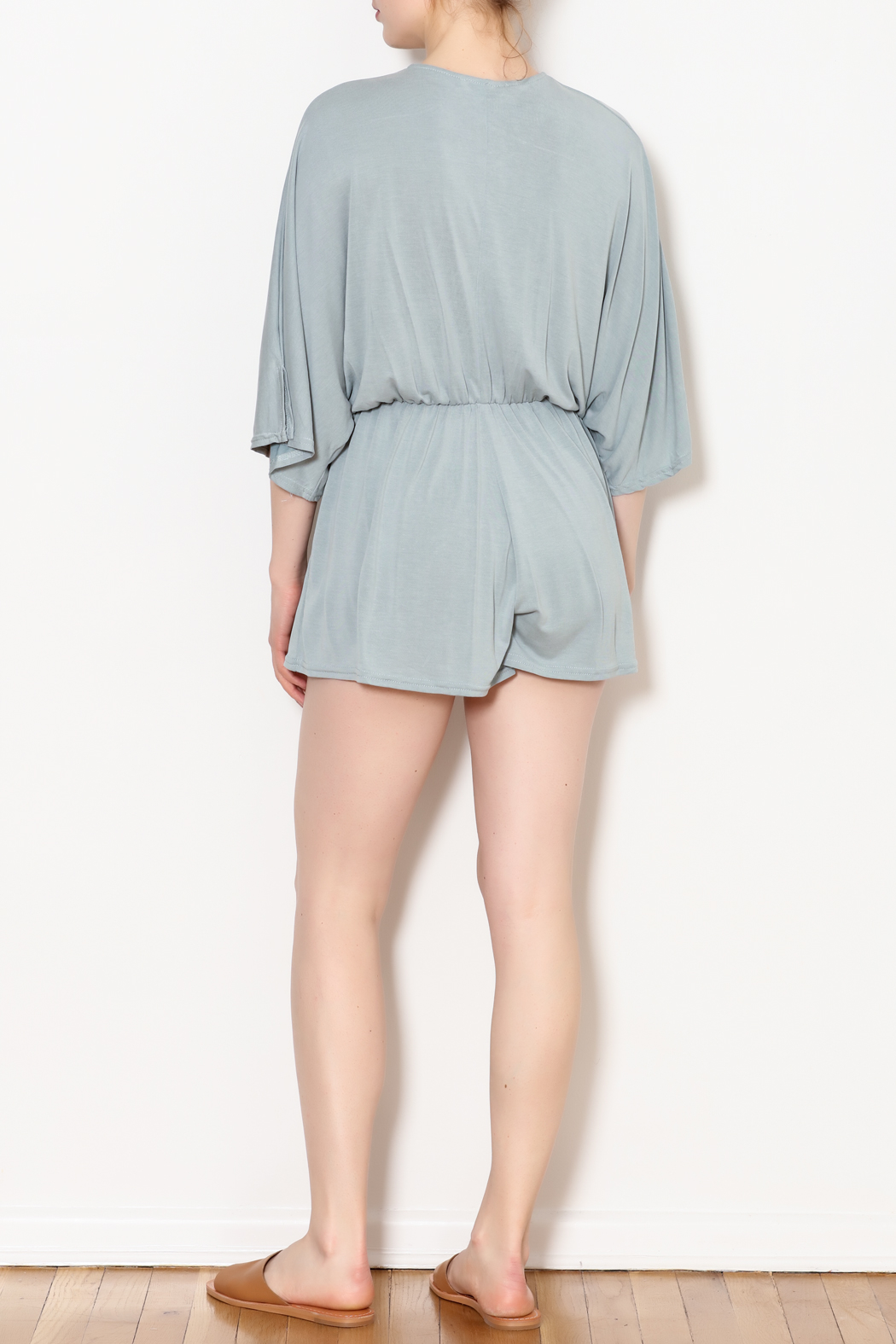 She + Sky Low V Neck Modal Romper - Front Full Image