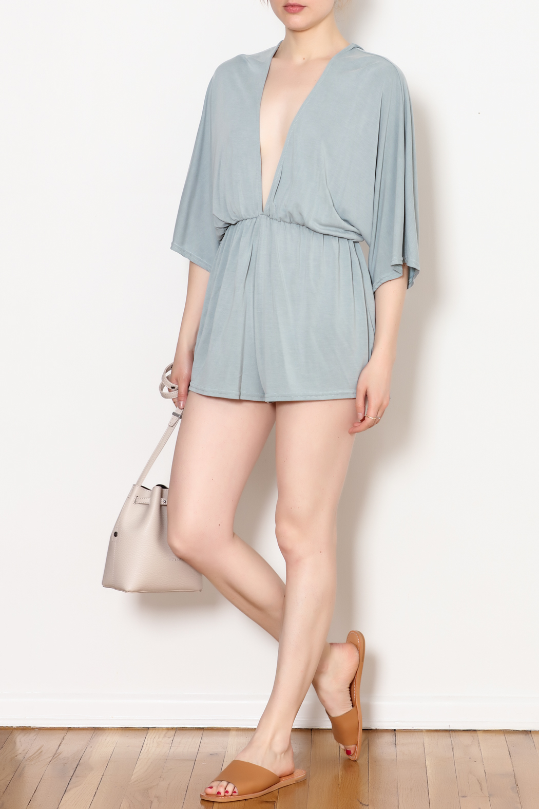 She + Sky Low V Neck Modal Romper - Main Image
