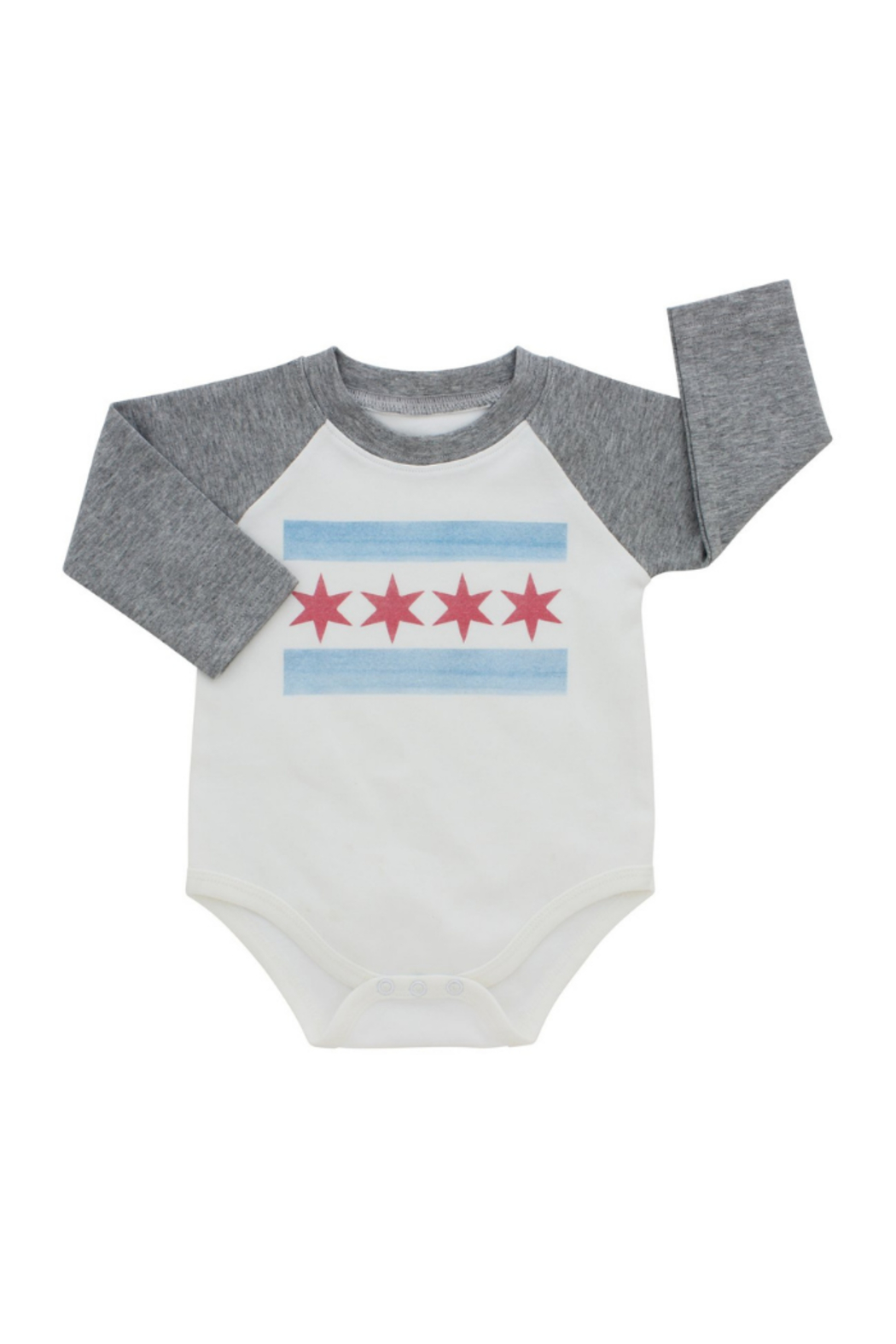 Emerson & Friends LS  Chicago Flag Baseball Onesie - Front Cropped Image