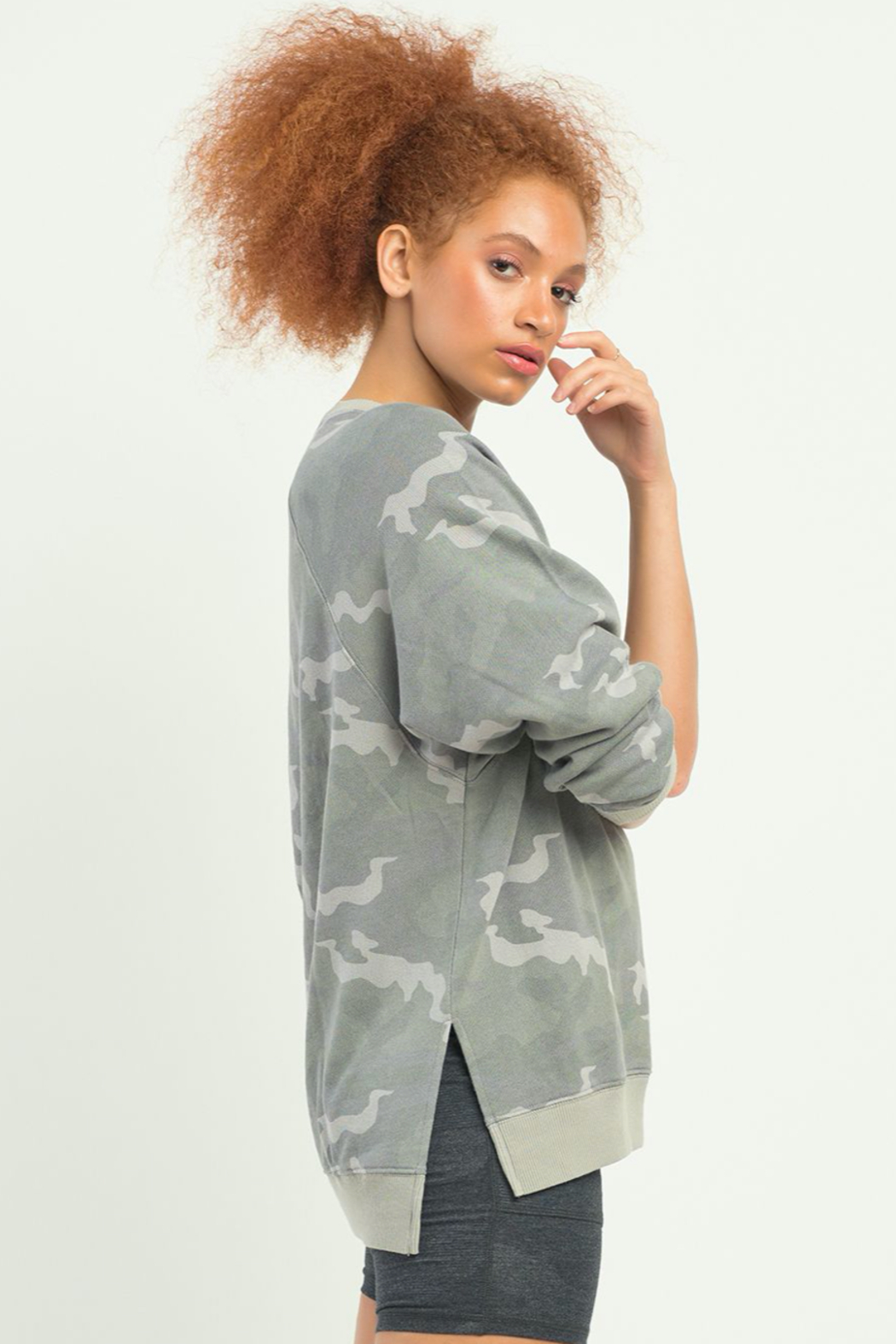 Dex LS OVERSIZED CAMO PULLOVER - Front Full Image