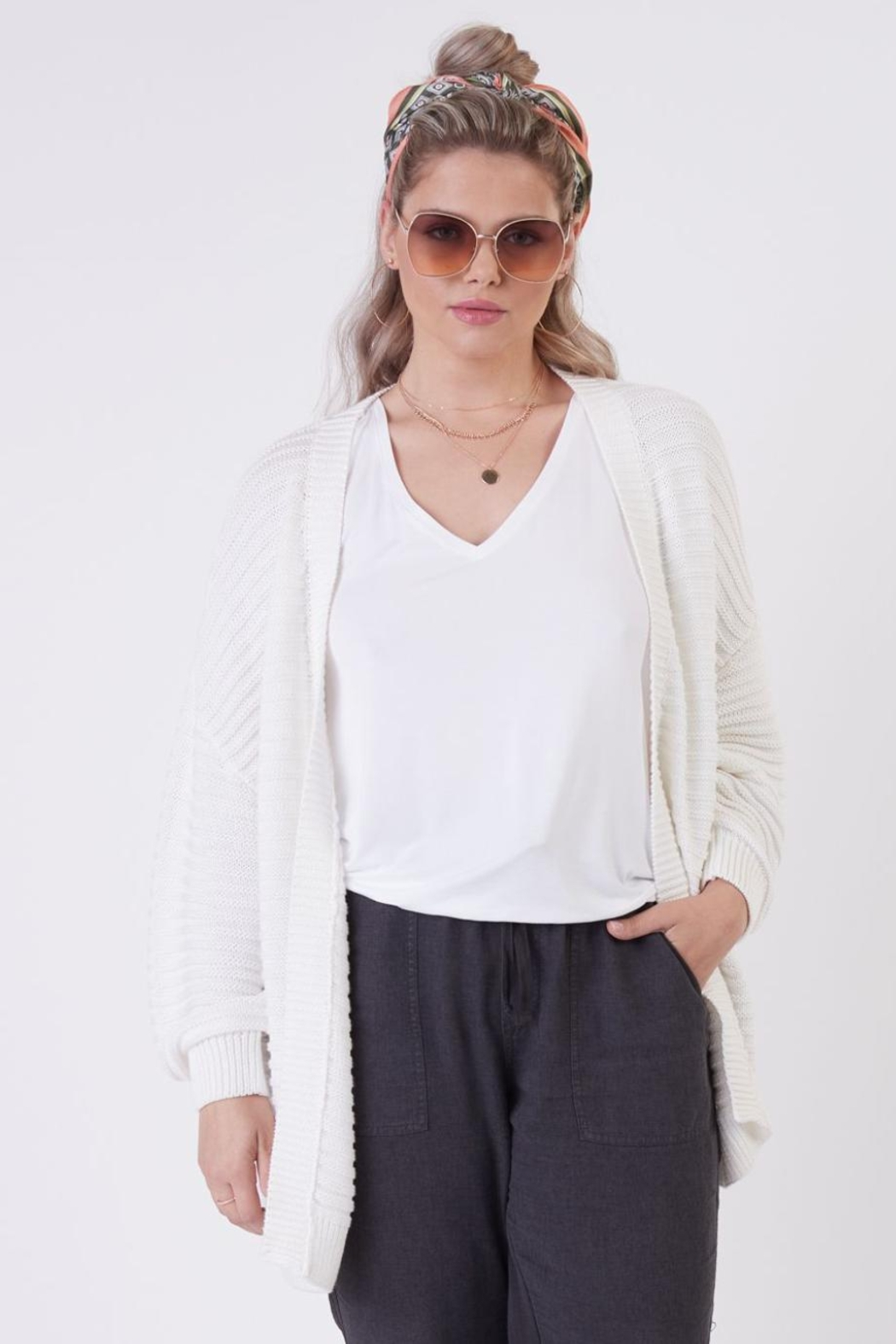 Dex Textured Knit Cardigan - Back Cropped Image